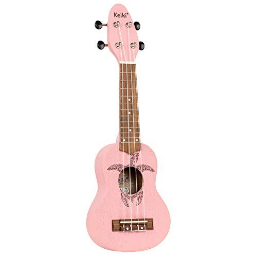 ORTEGA KEIKI Ukulele 4 String - Sopranino Tortiose/Turtle Lasering/KEIKI Headstock/A D F# B/Pink
