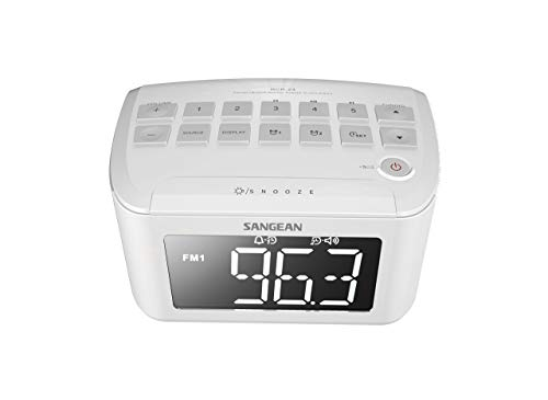 Sangean RCR-24 Uhren- und UKW Radio (Dual-Alarm, Snooze Funktion, AUX-In, Notstromversorung) weiß