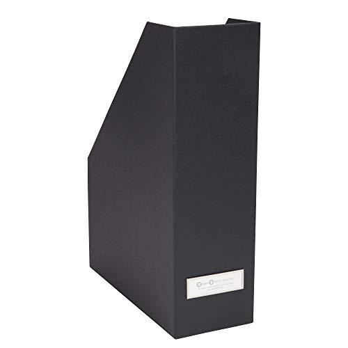 Bigso Box of Sweden Stehsammler mit Beschriftungsetikett – Zeitschriftensammler aus Faserplatte und Papier – Stehordner für Akten, Dokumente oder Zeitschriften – dunkelgrau