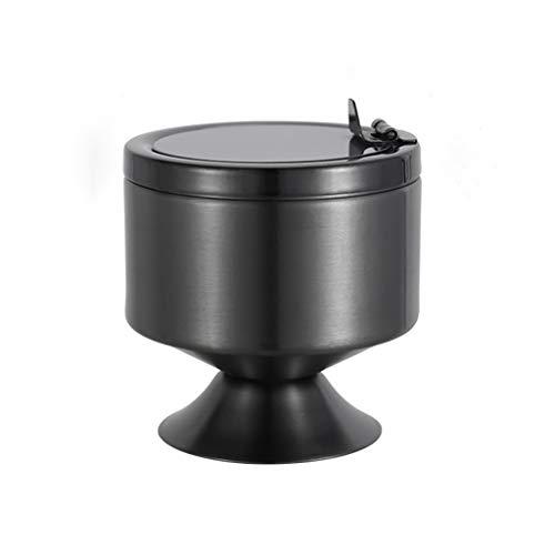 SKK Alta Capacidad Acero Inoxidable Moderna Mesa Cenicero con Tapa a Prueba de Viento del Cigarrillo Cenicero de Interior al Aire Libre de Ministerio del Interior Uso Fácil de Limpiar (Color : Black)