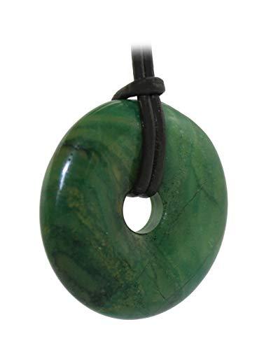 Prasem (Afrika Jade) Donut Anhänger 30 mm mit Lederband, Edelsteindonut Kettenanhänger