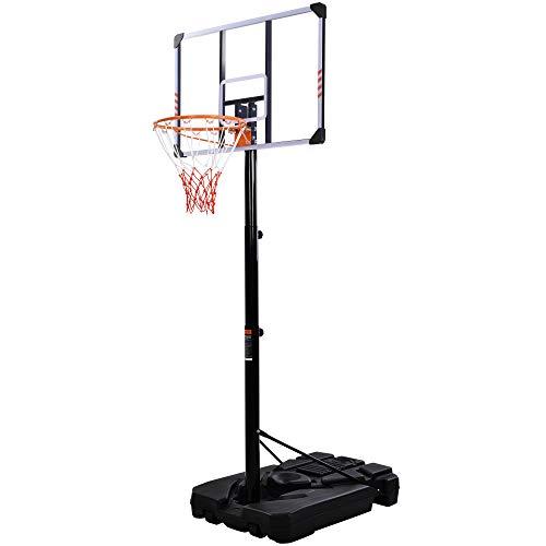 LEKER Canasta de baloncesto ajustable con ruedas, base rellenable de agua/arena, canasta de baloncesto de altura regulable de 225 a 305 cm, para uso en interiores y exteriores, para adultos y niños