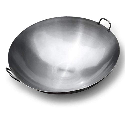 Great Deal! Frying Pan Tradition Wok Cast Iron Pot Raw Iron Pot Large Wok Non-Stick Uncoated Binaura...
