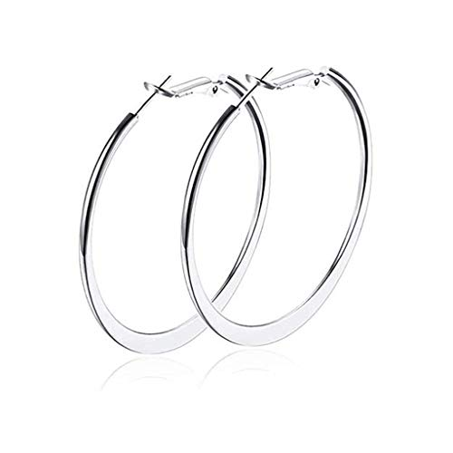 Womens Hoop Earrings,Silver Hoops Earrings for Women,18K Gold Polished Big Round Circle Earrings Fashion Jewelry Ladies Large Earrings Hoops (White Gold Hoop Earring)