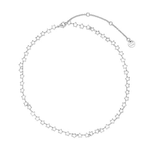 Pura Vida 14' Silver Seeing Stars Choker Necklace - Brand Charm, 3' Extender