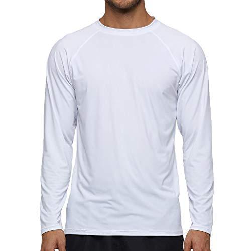 Arcweg Camiseta Deportivas Hombres Rash Guard con Filtro de Protección UPF 50+Mangas Largas Alta Elasticidad Secado Rápido Surf Natación Verano Blanco 3XL(EU)