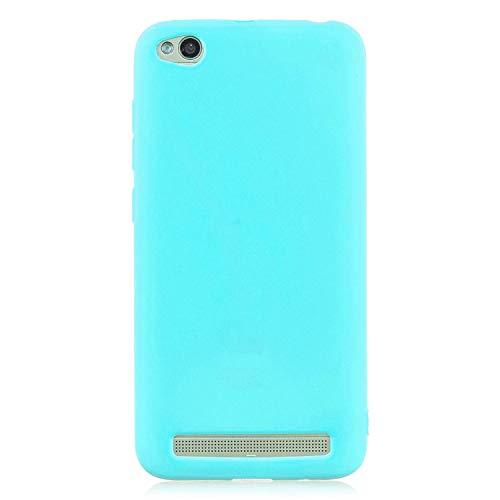 cuzz Funda para Xiaomi Redmi 5A+{Protector de Pantalla de Vidrio Templado} Carcasa Silicona Suave Gel Rasguño y Resistente Teléfono Móvil Cover-Azul Claro