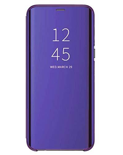 Rokmym Funda compatible para Samsung Galaxy J5 2016 Funda Espejo PU Cuero Flip Case Clear View PC Soporte para Galaxy J5 2016 morado Einheitsgröße