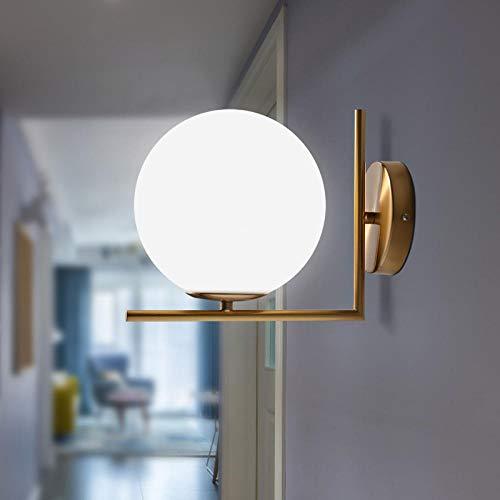 Moderne led-leeslamp van gesatineerde glazen bol van smeedijzer metaal brons globe lamp deur gang gang trappen geen licht gloeilamp diameter 20 cm