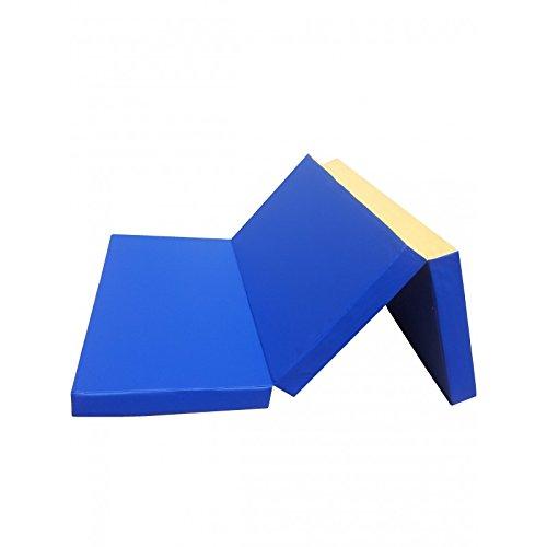 NiroSport Materassino di Caduta 210 x 100 x 8 cm Pieghevole Tappetino da Allenamento Tappetino da Ginnastica per Esercizi Fitness Stuoia Sportiva Gym Mat Impermeabile, Blu/Giallo