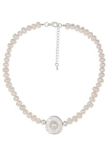 Leslii Damenkette echte Perlen mit Zuchtperlen Halskette Perlenschmuck Perlenkette kurz 45 cm in Weiß mit Anhänger in Silber