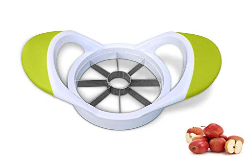 TB® Apfelschneider Apfelteiler Apfelentkerner Edelstahl Küche Apfelschneider Tomaten Orangen Birnen Entkerner Teiler Schäler einfach zu bedienen (grün)