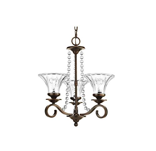 Progress Lighting P4753-20 Bliss 3-Light Antique Bronze Crystal Clear Glass Shaded Chandelier