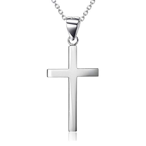 925 Sterling Silver Cross Pendant Necklace with 18' Chain Religious Cruxifix Gifts for Women Girls Boy(Cross necklace 18 inches)