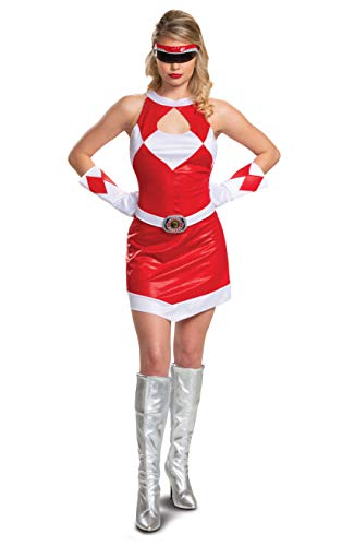 Disguise Mighty Morphin Power Ranger's Deluxe Adult Halloween Costume Red, Medium (8-10)