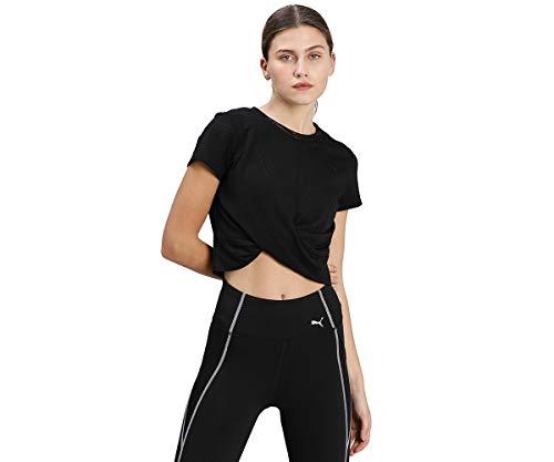 PUMA Studio Twist Burnout tee Camiseta, Mujer, Black/Burn out Print, XS