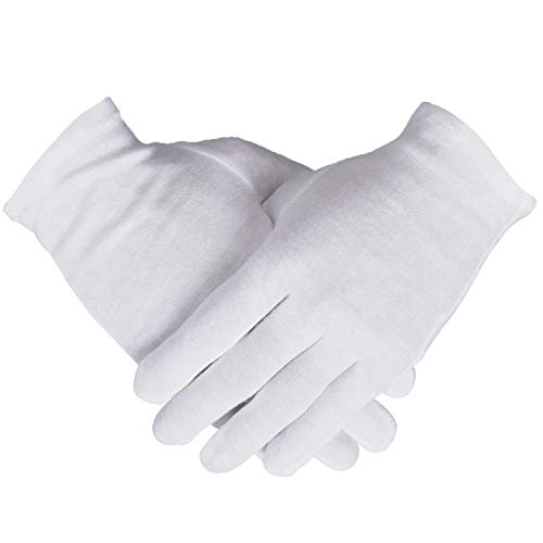 100% Cotton Gloves, 6 Pairs White Cotton Gloves for Women Dry Hands Eczema Serving - Archival Coin Jewelry Inspection Gloves (6 Pairs)