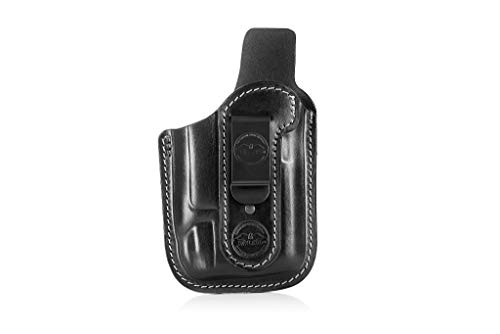 Pancake Style IWB Leather Holster for Guns with Light / Falco A118 Hyena Black / for S&W M&P Shield - Glock 17 19 22 23 32 33 / Springfield /Ruger /Sig Sauer /Taurus / Plus All Similar Sized Handguns