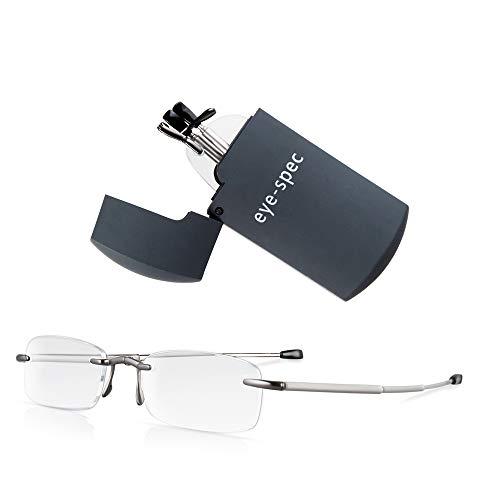 eye-spec   Smarte, kompakte, rahmenlose, faltbare Lesebrille mit graphitfarbenem Mini-Etui - Ultraleichtes, faltbares Design