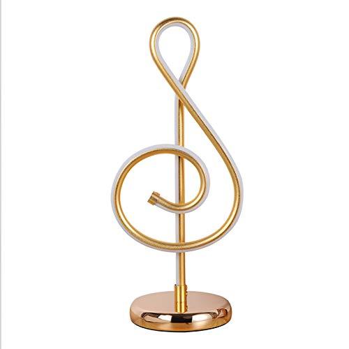 Lampe de table de note de musique NMHSC, lampe de table lumineuse trois tons, lampe de chambre à coucher en aluminium d'art, lampe de table de décoration dorée
