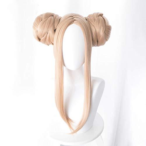 Peluca de cosplay Peinar el cabello largo, Abigail Williams (traje de bao) resistente de fibra de oro largas rectas dos bolsas de pelo 18inches del pelo de Cosplay del Anime Rose pelucas de la red 10