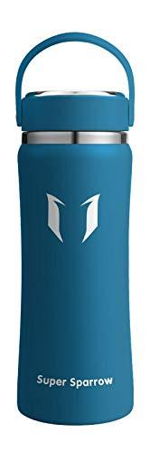 Super Sparrow Trinkflasche Edelstahl - 1000ml - Große Öffnung Thermoskanne, BPA-Frei Wasserflasche - Kohlensäure Thermosflasche für Kinder, Sprudel, Sport, Uni, Schule, Fitness, Outdoor