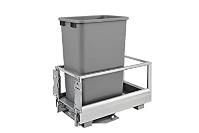 Rev-A-Shelf - 5149-1550DM-117 - Single 50 Qt. Pull-Out Brushed Aluminum and Silver Waste Container with Rev-A-Motion from Rev-A-Shelf