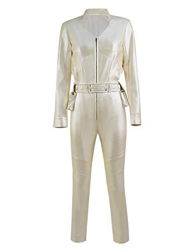 IDEALcos Halloween Sara Lance Weiß Canary Cosplay Kostüme PU-Lederoverall für Frauen (M, Beige)