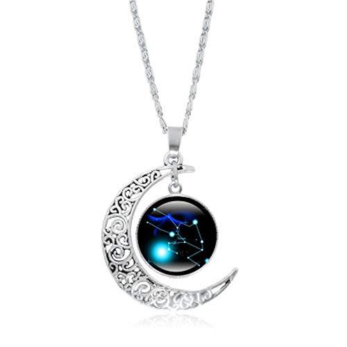 AILIEE Sternbild Mond Halskette 12 Horoskop Sterling Silber Tierkreis Astrologie Halbmond Glasmünze Anhänger Geschenke Für Mama Vorhanden Frauen Mädchen(B)
