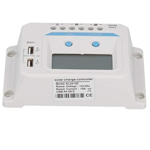 Weikeya Controlador de Carga Solar, Panel Solar batería EL2410Z con ABS 12V / 24V