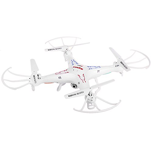 Syma- 1 / X5C Drone Quadcopter from 6 Axes with High Definition HD Camera and Remote Control 2.4G 4CH RTF 2G TF Card, Color White (
