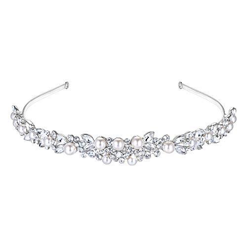 EVER FAITH® österreichischen Kristall elegant künstliche Perle Art Deco Braut Haarband Diadem Haarschmuck klar Silber-Ton N03997-1