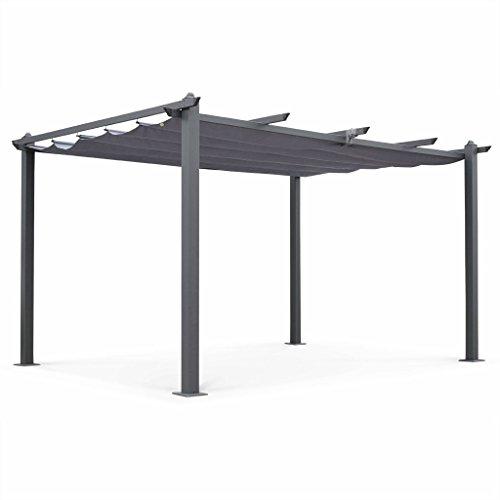 Alice's Garden Pergola Aluminium - Condate 3x4m - Toile Grise - Tonnelle idéale pour Votre terrasse. Toit Retractable. Toile coulissante. Structure Aluminium. Pieds Larges et Robustes