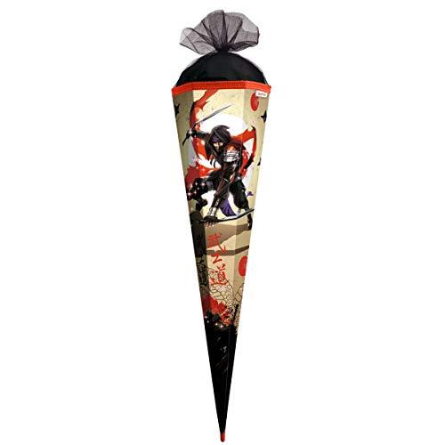 ROTH Schultüte groß Ninja mit Glitter - 85 cm - 6-eckig Rot(h)-Spitze Tüllverschluss - Zuckertüte Schulanfang Glitzer Japan