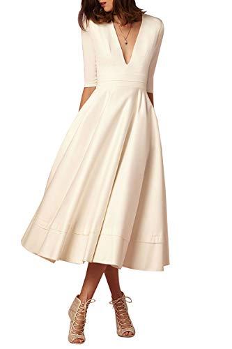 YMING Damen Midi Kleid Halber Ärmel Kleid Schwing Kleid Vintage Partykleid Weiß S DE 36 38