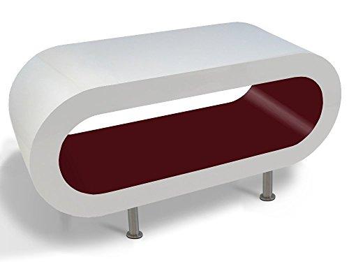 Zespoke Design Tableau Blanc et Bordeaux Brillant Cerceau Café TV/Meuble en Différentes Tailles