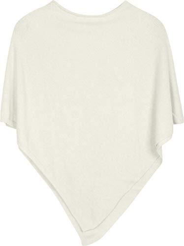 styleBREAKER Damen Feinstrick Poncho in Unifarben, leicht asymmetrischer Schnitt, Ärmellos, Rundhals 08010042, Farbe:Creme
