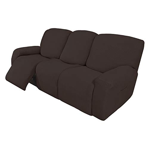 Easy-Going 8 Pieces Recliner Sofa Stretch Sofa Slipcover Sofa Cover Furniture Protector Couch Soft with Elastic Bottom Kids, Spandex Jacquard Fabric Small Checks Chocolate
