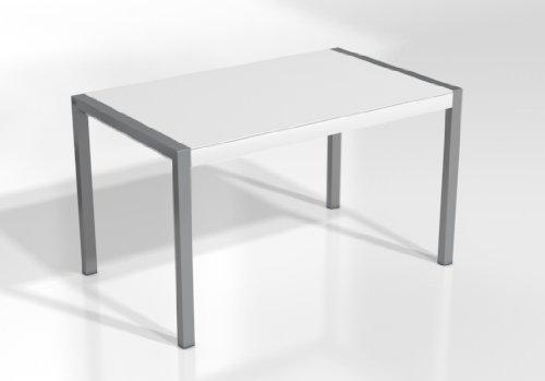 Mesa Extensible Concept - Encimera Cristal Blanco Mate/Patas Aluminio, 160X90 cms