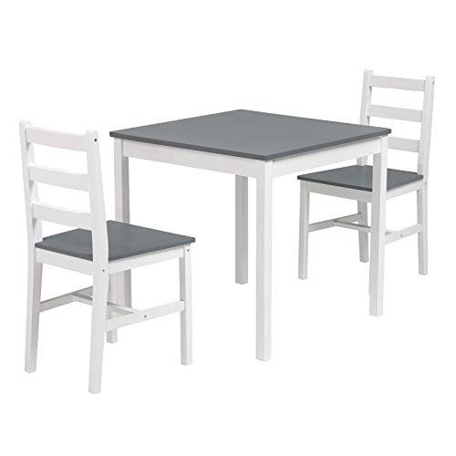 Mecor 3 PCS Dining Table Set, Wood Kitchen Table Set with 2 Chairs (Grey)