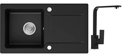 Küchenspüle Schwarz 78 x 44 cm, Spülbecken + Wasserhahn Küche + Siphon Klassisch, Granitspüle ab 45er Unterschrank in 5 Farben mit Armatur Varianten, Einbauspüle von Primagran