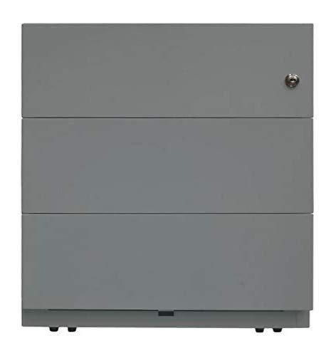 BISLEY Rollcontainer Note mit Griffleiste, 3 Universalschubladen, 355 Silber, 56.5 x 42 x 49.5 cm