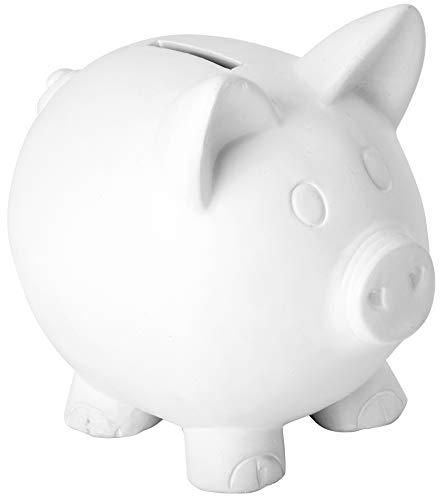 Sparschwein, aus Keramik, in weiß, Höhe ca. 13,5 cm