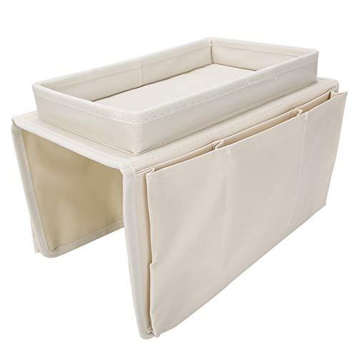 Bolsa de reposabrazos para sofá, bolsa de almacenamiento de sillón ordenada ordenada de alta capacidad, resistente al agua y diseño de múltiples bolsillos para habitación de dormitorio para(Beige)