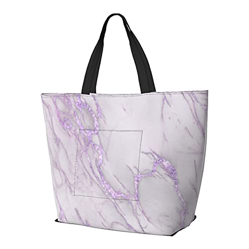 Marble Love - Bolso de hombro metálico de color morado multifuncional de gran capacidad, bolso de tableta de trabajo, ligera, bolsa de viaje, bolsa de playa, para mujer