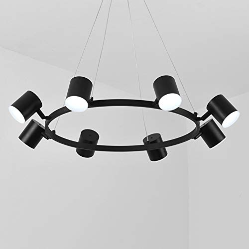 FAGavin LED Negro Rotar Lámpara De Techo Luz Blanca Hierro Acrílico Araña Comedor Sala De Estar Estudio Dormitorio Simple Moderno Círculo Anillo