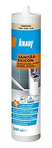 Knauf Sanitär-Silicon für den Einsatz in Sanitär-Bereichen, Bad, Dusche – dauerelastischer Silikon-Dichtstoff, schnell vernetzende Anti-Schimmel Fugen-Masse, wasserfest, 300-ml, Anemone