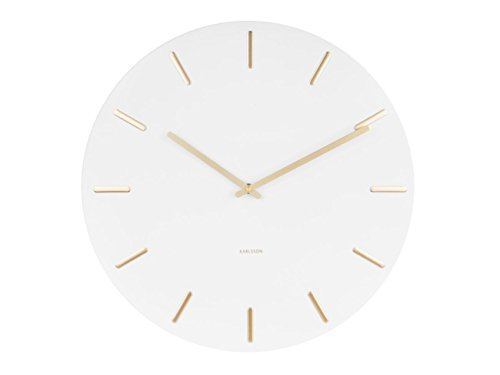 Karlsson Present Time Wall Clock Charm - Weiss/Gold - Ø 45cm, H. 3,5cm