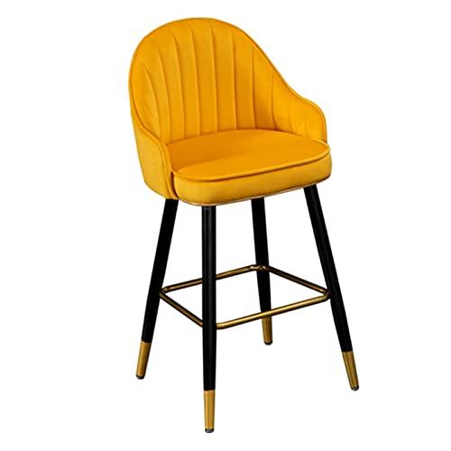 YYQQ Silla Silla de Sala de Estar, Lujo Modern Minimalist Reverenciación de la Isla de la Isla Barra de Hierro Forjado Taburetes High School sillón (Color : 55cm Orange)