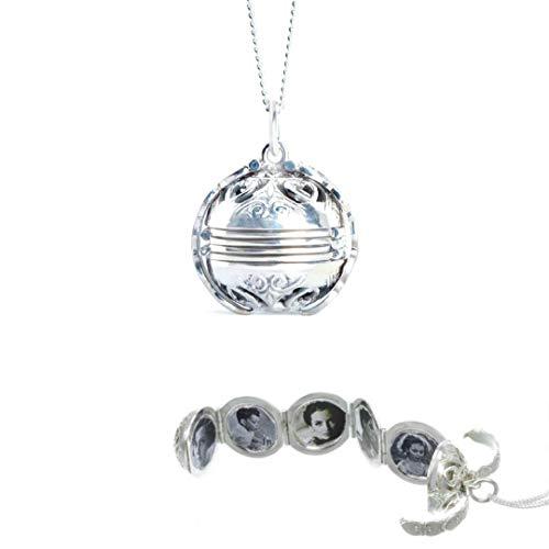Lily Blanche Collar para mujer de oro blanco – Medallón de 'Memory Keeper' diseñado en Gran Bretaña